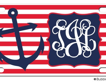 Personalized Nautical Navy Red Stripes Anchor License plate car Tag Name circle Monogram