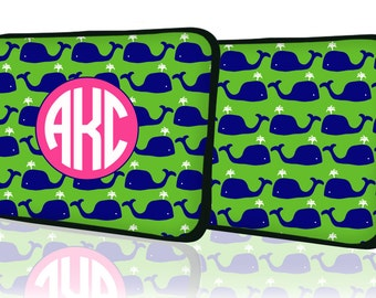 """Custom LAPTOP MACBOOK Sleeve Whale Preppy Navy Monogram 11"""" 12"""" 13"""" 14"""" 15"""" - Personalized Monogram - Design Printed on Front AND Back"""