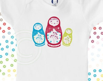 Matryoshka doll organic onesie, Russian nesting dolls, organic baby clothes, baby girl, cute