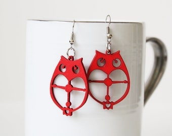 Buy 3 Get 1 FREE//RED Owl Cut  Natural  Wood Earring