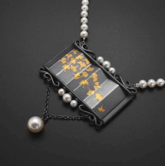 Ginkgo necklace of fine gold  Keum Boo on sterling with pearls.