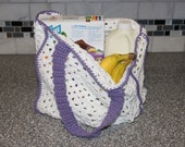 Easy Granny Square Reusable Grocery or Tote Bag Crochet Pattern
