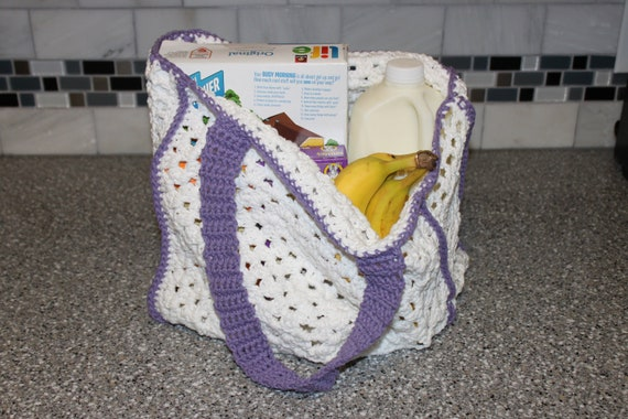 Granny Square Tote Bag : Easy Granny Square Reusable Grocery or Tote Bag Crochet Pattern