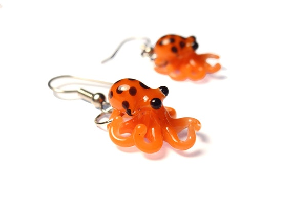 Bright Orange and Black Octopus - Tiny Glass Earrings
