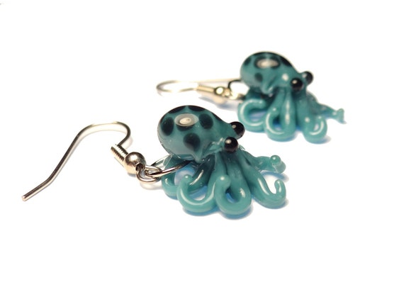 Tiny Teal Blue Octopus - Glass Earrings