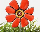 flower garden art - plant stake - flower sculpture - garden decor - garden ornament  - buttercup red