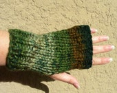Fingerless Gloves wrist warmers fingerless mittens green brown grey taupe hand knit multicolored   ed