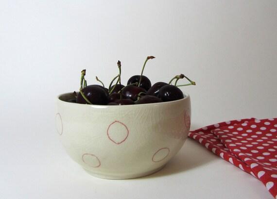 Minimal Red Circles Dots Ceramic Bowl