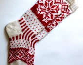 Red and white CUSTOM MADE Scandinavian pattern rustic fall autumn winter knit knee-high wool socks present gift