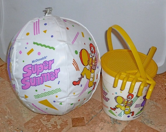 Vintage McDonald's Happy Meal Toys,  Beach Toys, Beach Ball, Pail and Rake- 1987- ( 3 Piece Set )
