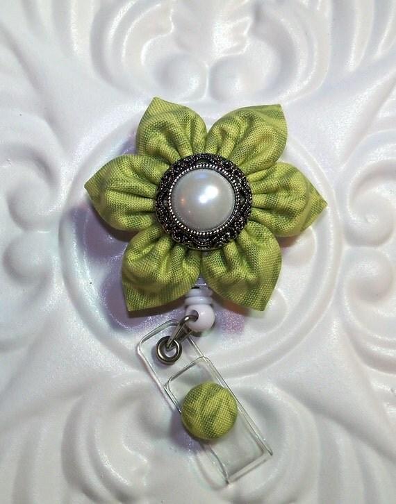 Id Badge Reel Retractacle Green Tonal Print
