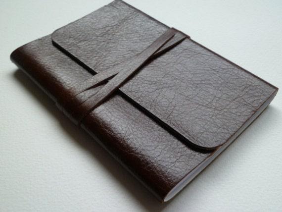 Leather Bound Notebook/Journal Traditional Hazelnut Brown Handmade