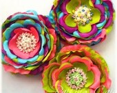 Candy Inspired Rainbow Hair Clip Girls Teen Rhinestone Middle Accent Stacked Color Ranuculous Flower Photo Prop School