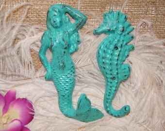 Mermaid and Seahorse - 2 Wall Hooks - Under the Sea Nursery Decor - Turquoise Green - Beach Theme Decor
