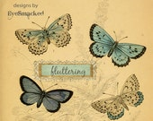 etsy banner butterlies, etsy shop set, etsy graphic six piece etsy shop design