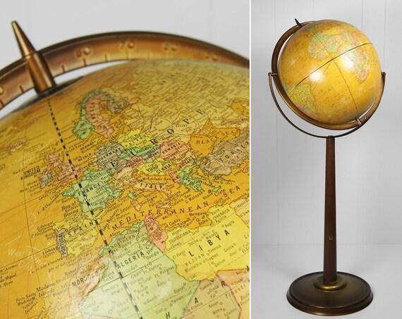 Vintage 1960's Cram's Imperial 12 Inch Floor World Globe w/ Raised Relief