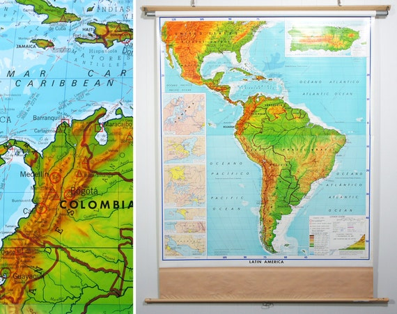 Huge Vintage 1980's Latin America Pull Down Classroom Map