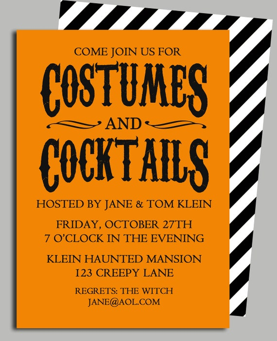 Items similar to halloween invitation printable costumes and items similar to halloween invitation printable costumes and cocktails on etsy stopboris Images
