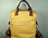 Cosmo Backpack in Wheat Gold Canvas/ Men/ Messenger/ Laptop Bag/Handmade in New York/ School Bag/ Brown Leather