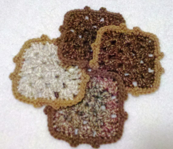 RESERVED FOR CHERI Shabby Chic Country Living Coasters - Hand crocheted - Set of 4