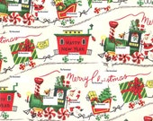 Vintage Gift Wrap JPG Digital Scan Download - Candy Train Vintage Gift Wrap Scan