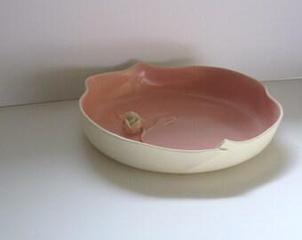 Vintage Haldeman Caliente California pottery low flower bowl white rose