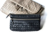 Bottega Veneta Black Woven Wallet Purse Clutch Lamb Skin