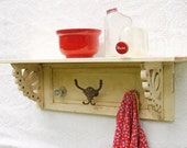 Pickers Delight-Large shelf made from architectural salvage, reclaimed glass doorknobs and hooks