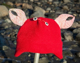 Children's Fleece Crab hat with earflaps