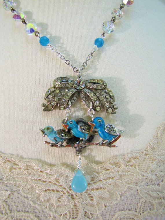 Bluebird Trio- Vintage Assemblage Pendant Necklace- Blue Enamel, Rhinestone, Crystal- One of a Kind