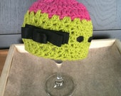 Newborn Lime and Pink Crochet hat