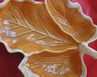 Vintage Hull Orange leaf dish or tray