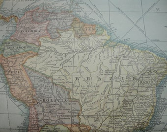 Map original vintage 1911 South America