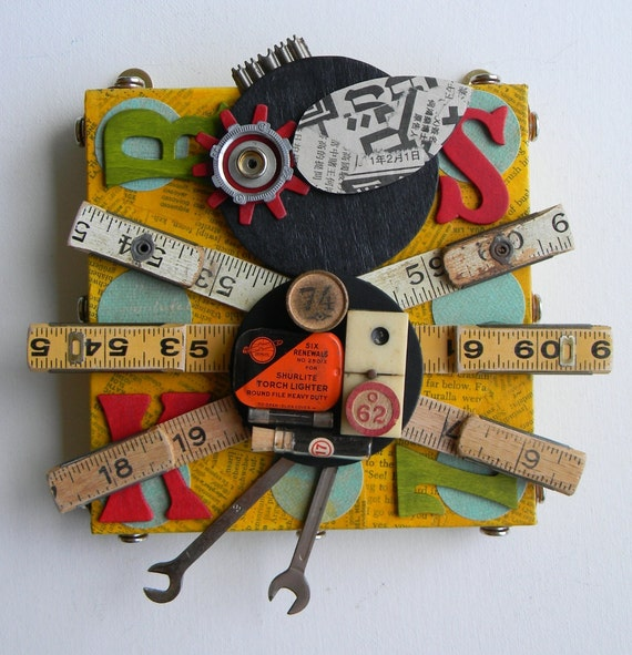 """Recycled Art Collage  -  """"Blackbird (Rulers)""""  -  Original Mixed Media"""