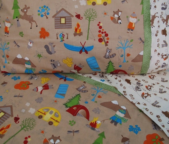 Forest animals nursery Toddler bedding camping crib sheet set