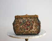 Tapestry Bag & Change Purse FRENCH - 1960s VINTAGE