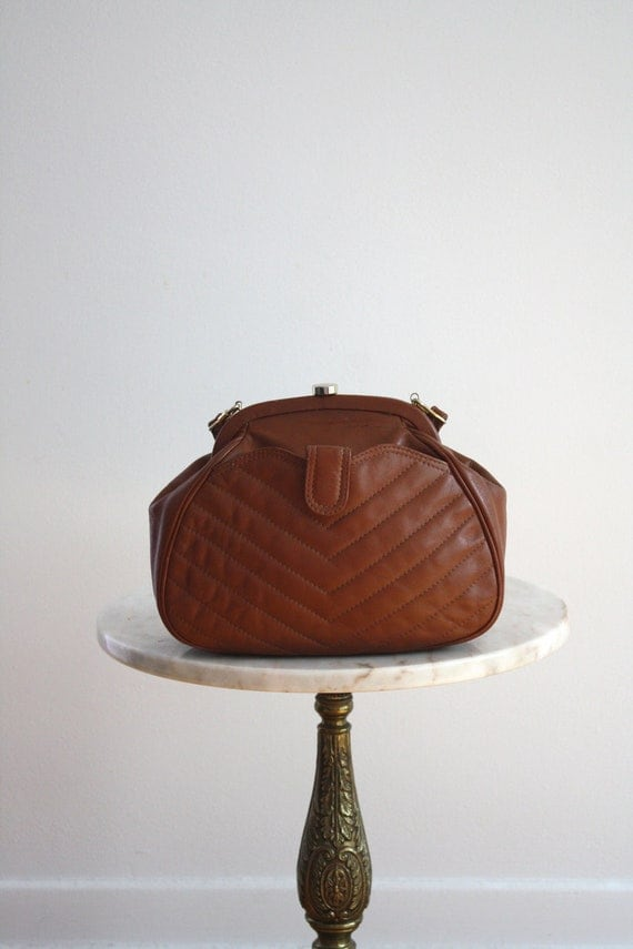 Brown Leather Purse OR Clutch - GRANNY Long Strap Snap - 1970s VINTAGE
