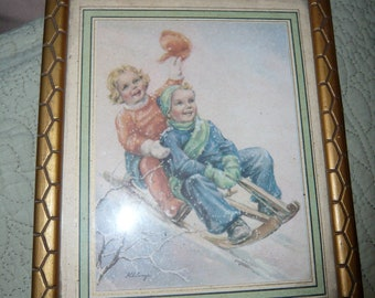 40s French Print Framed / Children Print  / Art Deco Winter Scene / Child room