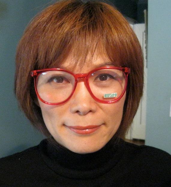 80s Red Eyeglasses Bennetton / Preppy Geek Chic Eyewear / Deadstock