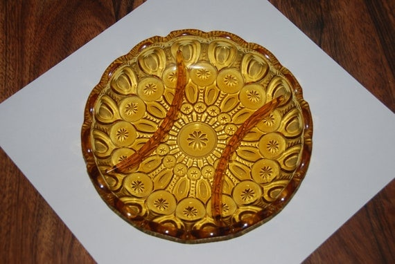 L. E. Smith Vintage Amber Moon & Stars Glass Plate Relish Tray