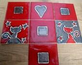 CUSTOM ORDER Red & Bronze Ceramic Hand Painted Tile