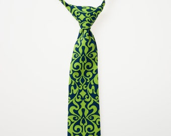 Little Boy Necktie - Blue and Green Damask