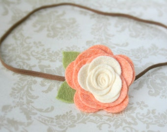 Felt Flower Headband for baby, Peach & Ivory Baby Headband, Flower Headband for newborn infant toddler teen adult, Newborn Photo Prop