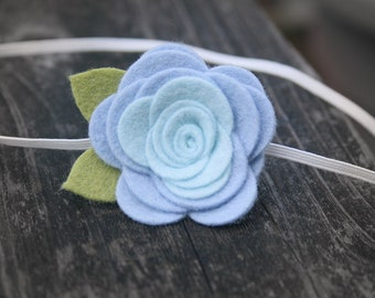 Blue Flower Headband, Newborn headband, Baby Flower headband, Felt Flower infant headband, toddler headband, teen, adult, Newborn Photo Prop