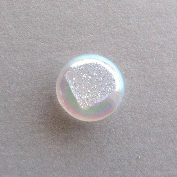 Tiny White Round Agate Druzy Cabochon Pendant