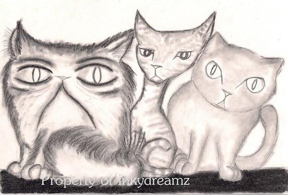 """Cats - Original 5X7"""" inch charcoal artwork"""