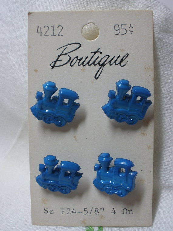 Vintage Boutique Choo-Choo Train Buttons - 2 packs of 4 buttons - Blue