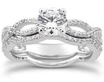 Intertwined Diamond Engagement Ring 1.00 CT Infinity Style Matching Wedding Band 14K White Gold Size (4-9)