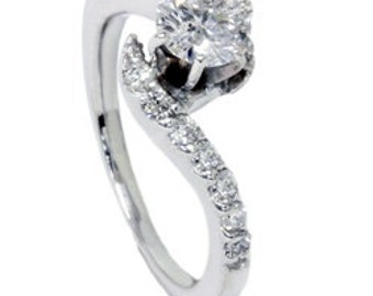 Curve Real Diamond Engagement Ring .65CT 14K White Gold Size 4-9