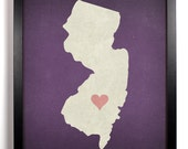 State Love New Jersey, Home, Kitchen, Nursery, Bath, Dorm, Office Decor, Wedding Gift, Housewarming Gift, Unique Holiday Gift, Wall Poster